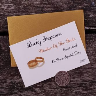 Traditional Mother Of The Bride Wedding Good Luck Keepsake With Genuine Sixpence - Gold Rings